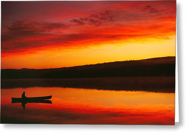 Silhouetted Canoe On Lake Greeting Card by Panoramic Images