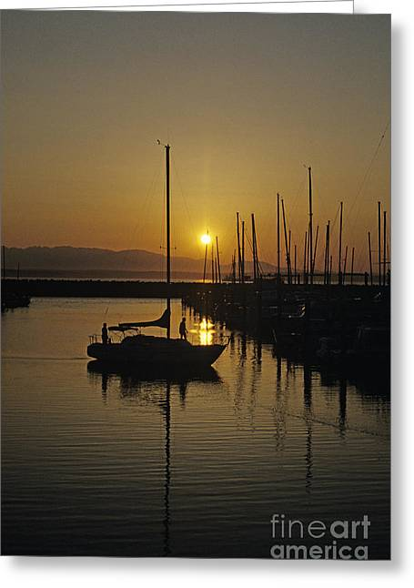 Recently Sold -  - Sailboats In Water Greeting Cards - Silhouetted man on Sailboat Greeting Card by Jim Corwin
