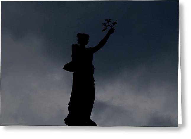 Forboding Greeting Cards - Silhouetted Statue Greeting Card by Stephen Melcher