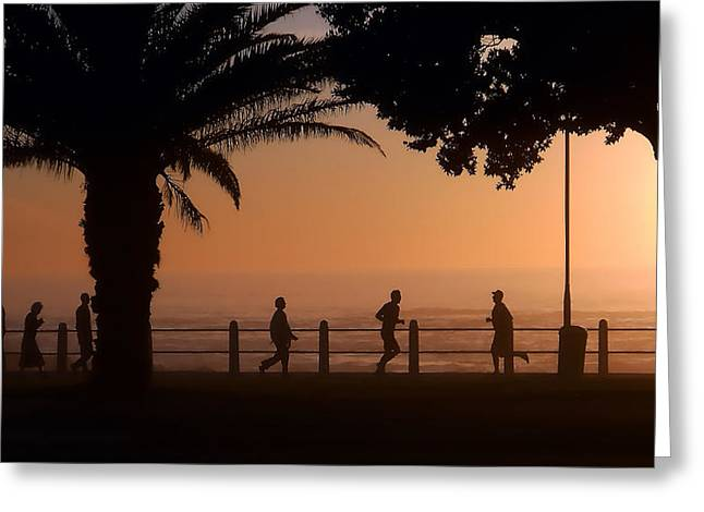 Silhouettes Along The Promenade 2 Greeting Card by Michael Durst
