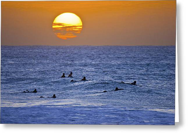 Surf Silhouette Greeting Cards - Silhouettes and gold Greeting Card by Sean Davey