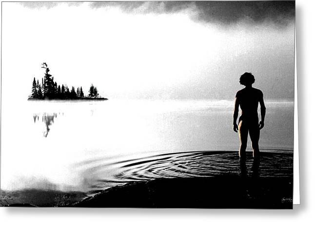 Man In The Wilderness Greeting Cards - Silhouettes in the Mist Greeting Card by Wayne King