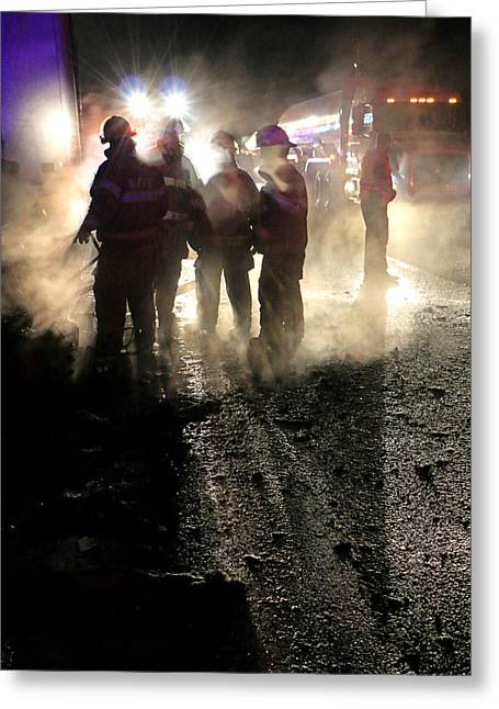 Road Crew Greeting Cards - Silhouettes of Firefighters Greeting Card by Christopher McKenzie