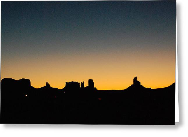 Geobob Greeting Cards - Silhouettes of Monument Valley skyline before Dawn from Gouldings Trading Post Utah Greeting Card by Robert Ford