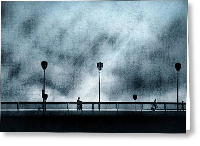 Silhouettes Sur La Passerelle. Blue. Greeting Card by Sol Marrades