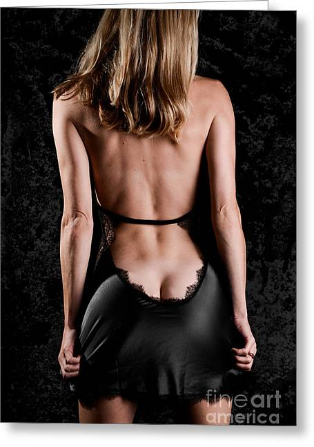 Long-underwear Greeting Cards - Silk Black Nighty Greeting Card by Jt PhotoDesign