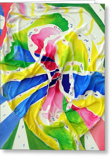 Silk Color Whirl Greeting Card by Sandra Fox