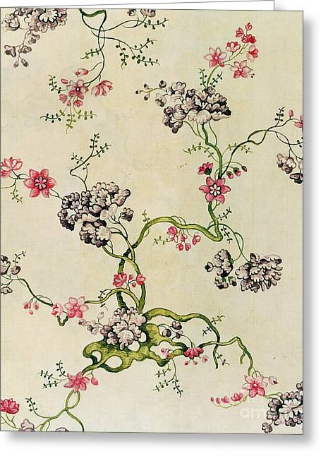 Flower Tapestries - Textiles Greeting Cards - Silk design Greeting Card by Anna Maria Garthwaite