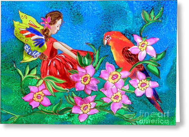 Winged Tapestries - Textiles Greeting Cards - Silk Fairy and Parrot Greeting Card by Sandra Fox