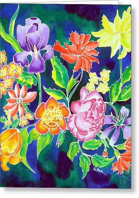 Hand Tapestries - Textiles Greeting Cards - Silk Floral 1 Greeting Card by Sandra Fox