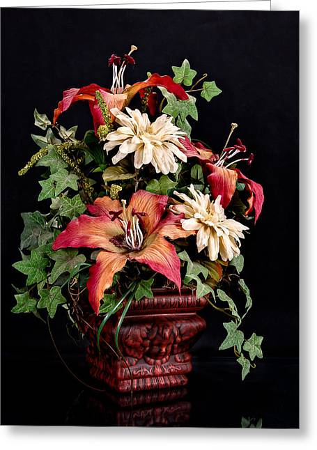 White Cloth Greeting Cards - Silk Flowers Greeting Card by Jeff Burton