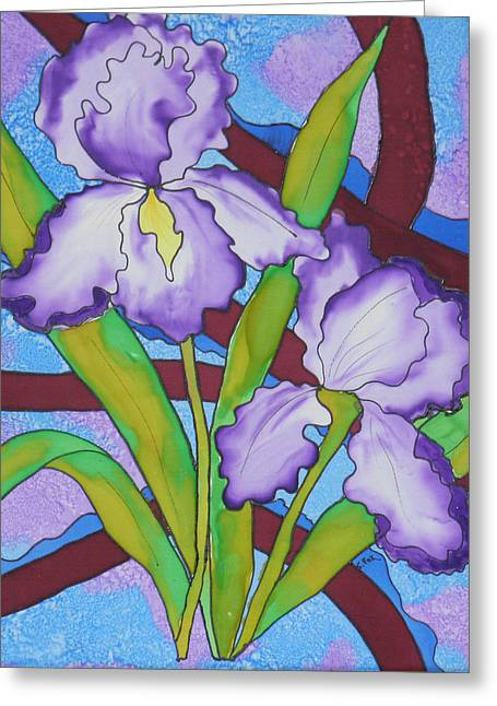 Hand-painted Tapestries - Textiles Greeting Cards - Silk Iris Greeting Card by Sandra Fox