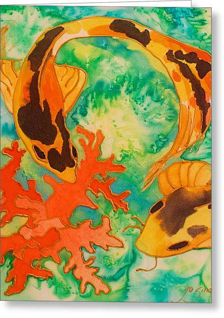 Under The Sea Greeting Cards - Silk Koi Greeting Card by Joanne Smoley