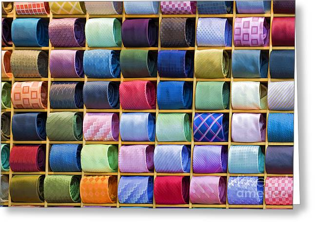 Italian Market Shelves Photographs Greeting Cards - Silk Neckties Greeting Card by Sheldon Kralstein