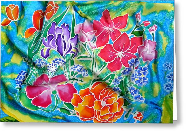 Orange Tapestries - Textiles Greeting Cards - Silk Summer Bouquet Greeting Card by Sandra Fox