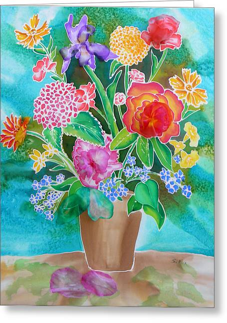 Teal Tapestries - Textiles Greeting Cards - Silk Teal Bouquet Greeting Card by Sandra Fox