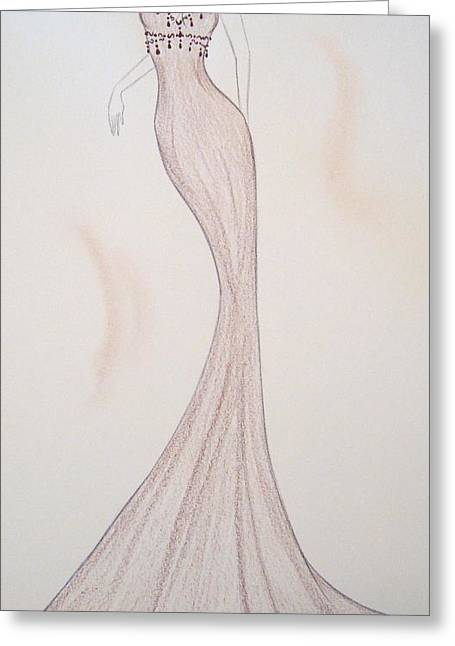 Evening Dress Drawings Greeting Cards - Silken Mink Greeting Card by Christine Corretti