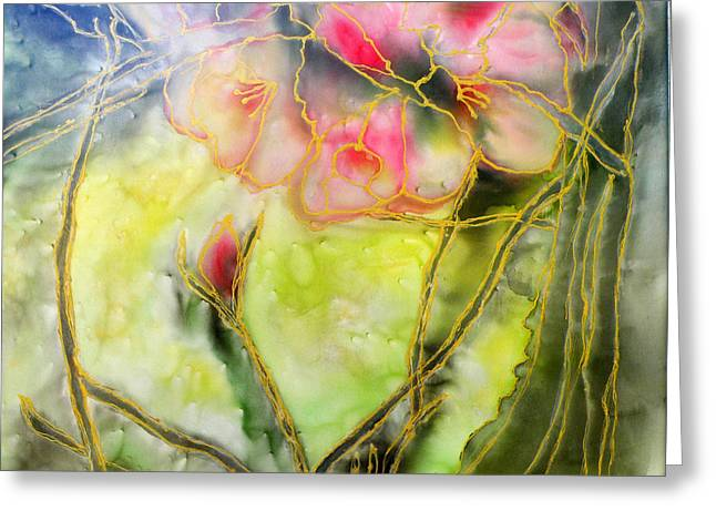 Pink Flower Branch Paintings Greeting Cards - Silky Almond Flower Greeting Card by Augusta Stylianou