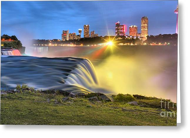 Prospects Greeting Cards - Silky Niagara Falls Panoramic Sunset Greeting Card by Adam Jewell
