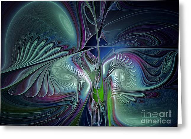 Symbolic Digital Art Greeting Cards - Silky Nights-Fractal Design Greeting Card by Karin Kuhlmann