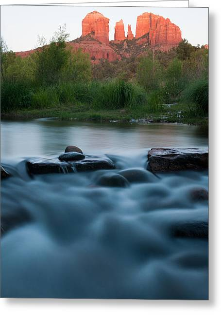 Cathedral Rock Greeting Cards - Silky Stream Greeting Card by Shannon Hastings
