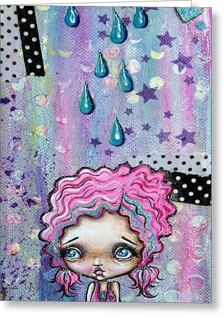 Oddball Art Greeting Cards - Sillie Smilie Showers Greeting Card by Oddball Art Co by Lizzy Love