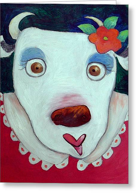 Anthropomorphic Greeting Cards - Silly Cow Oil On Canvas Greeting Card by Maylee Christie