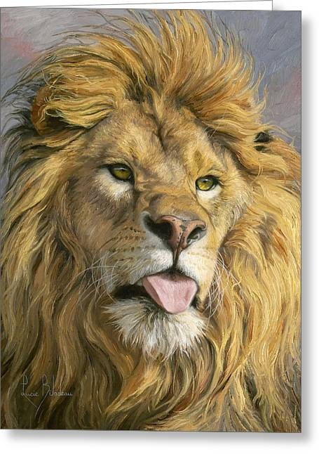 Lion Greeting Cards - Silly Face Greeting Card by Lucie Bilodeau