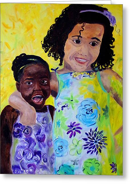 Interracial Love Greeting Cards - Silly Sisters Greeting Card by Tracy Nzambi