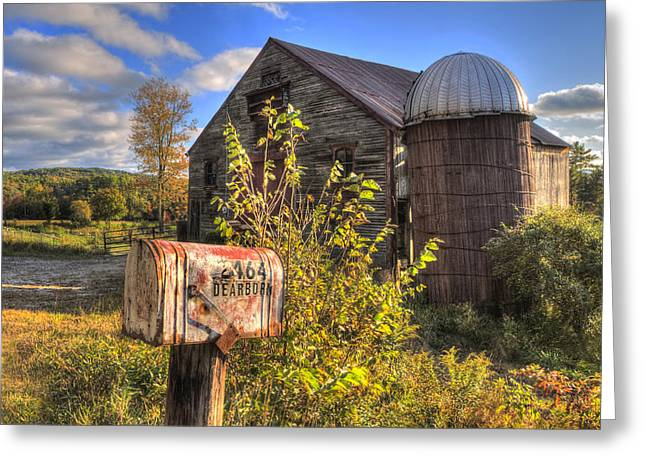 New England Fall Scenes Greeting Cards - Silo and Barn in Autumn Greeting Card by Joann Vitali
