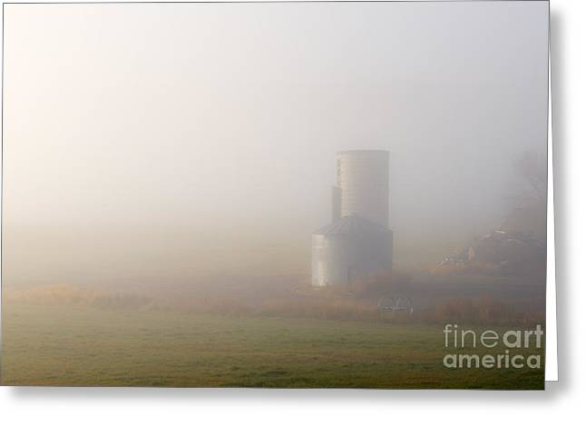 Silo Greeting Cards - Silo in the Fog Greeting Card by Mike  Dawson