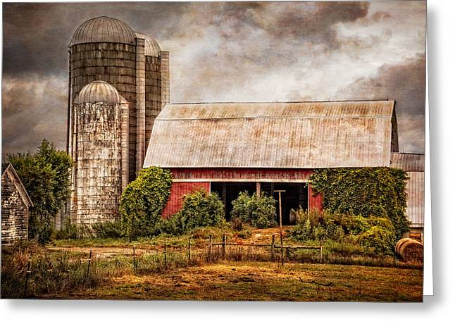 Tennessee Hay Bales Greeting Cards - Silos and Barns Greeting Card by Debra and Dave Vanderlaan