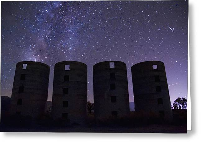 Meteors Greeting Cards - Silos at Night Greeting Card by Cat Connor