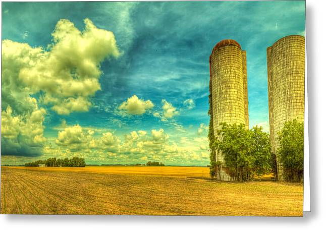 Field. Cloud Greeting Cards - Silos Greeting Card by  Caleb McGinn