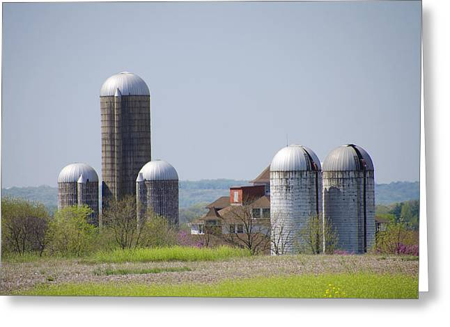 State Hospital Greeting Cards - Silos - Norristown Farm Park Greeting Card by Bill Cannon