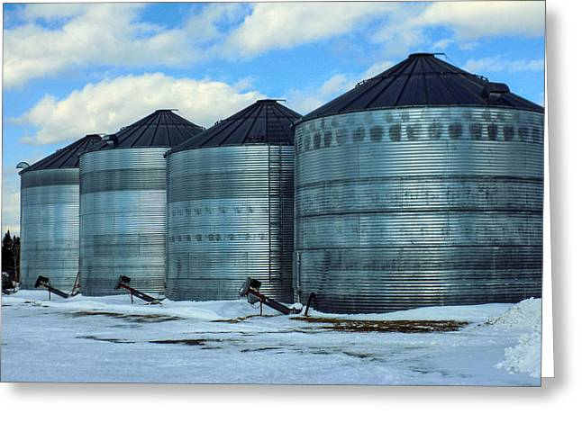 Maine Agriculture Greeting Cards - Silos Greeting Card by William Tasker