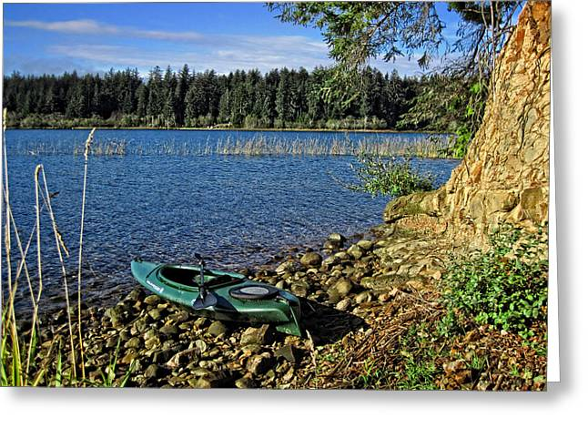 Kayak Greeting Cards - Siltcoos Lake Kayak View Greeting Card by Lara Ellis