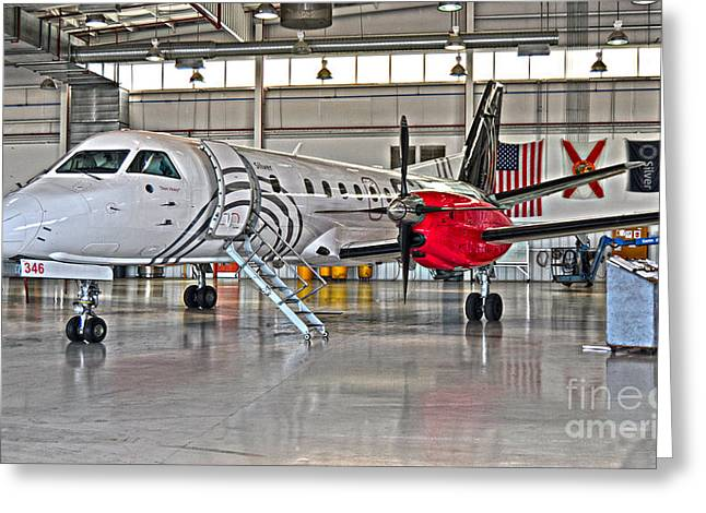 Commuter Plane Greeting Cards - Silver 346 Greeting Card by Diane E Berry