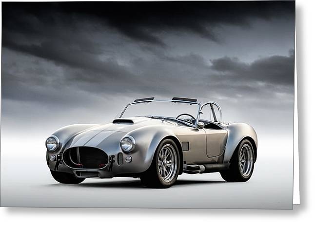 Garage Greeting Cards - Silver AC Cobra Greeting Card by Douglas Pittman