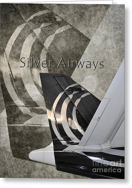 Airways Greeting Cards - Silver Airways Tail Logo Greeting Card by Diane E Berry