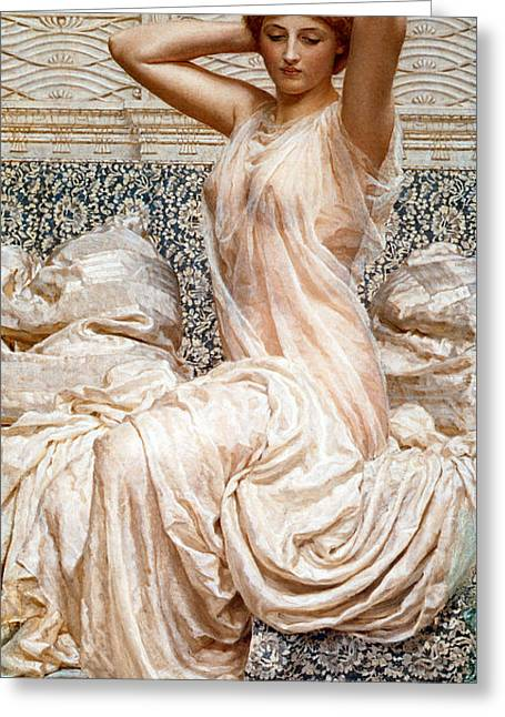 Nightgown Greeting Cards - Silver Greeting Card by Albert Joseph Moore
