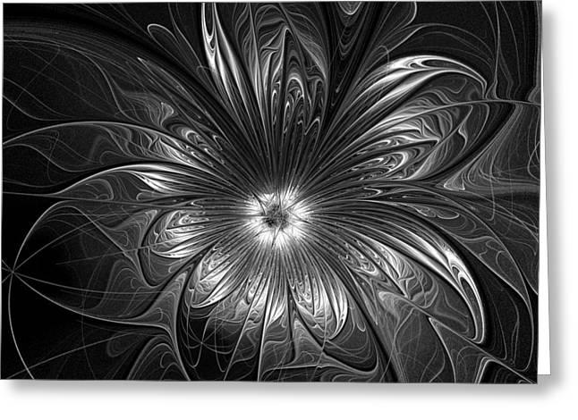 Floral Digital Art Greeting Cards - Silver Greeting Card by Amanda Moore