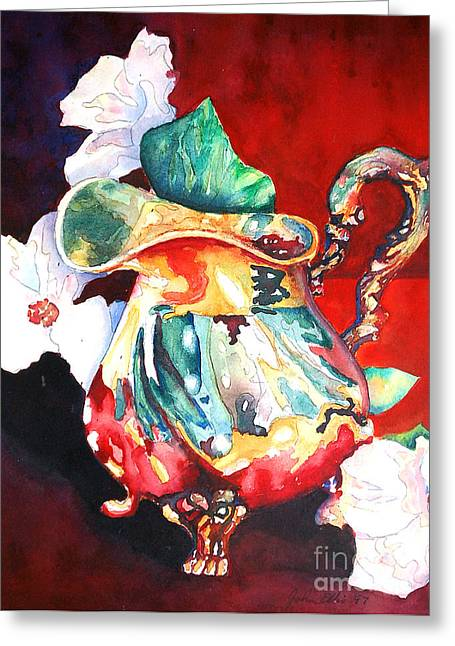 Ewer Paintings Greeting Cards - Silver and Dogwood Greeting Card by Flamingo Graphix John Ellis