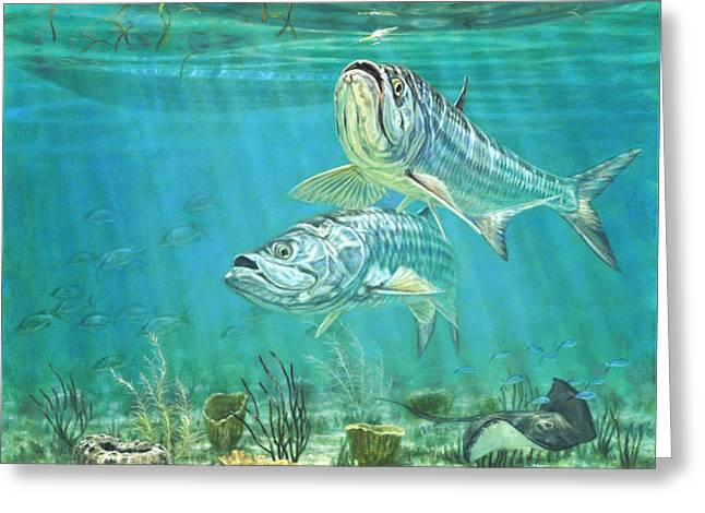 Underwater View Paintings Greeting Cards - Silver and Gold Greeting Card by Don  Ray