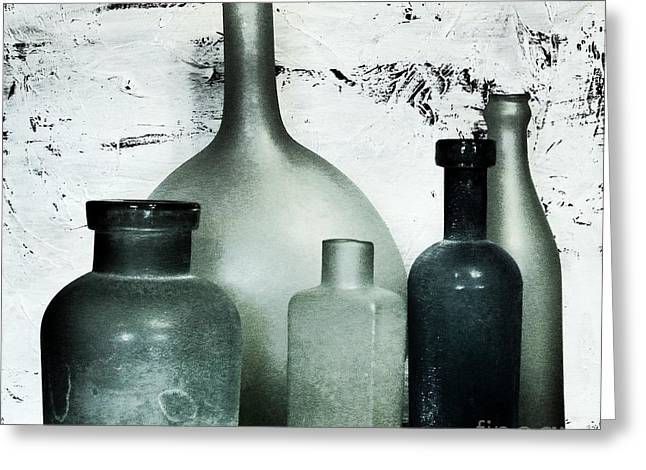 Onyx Greeting Cards - Silver and Onyx Bottles Greeting Card by Marsha Heiken