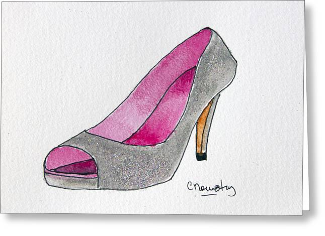 Open Toe Shoes Greeting Cards - Silver and Pink Heels Greeting Card by Cindy Nowotny
