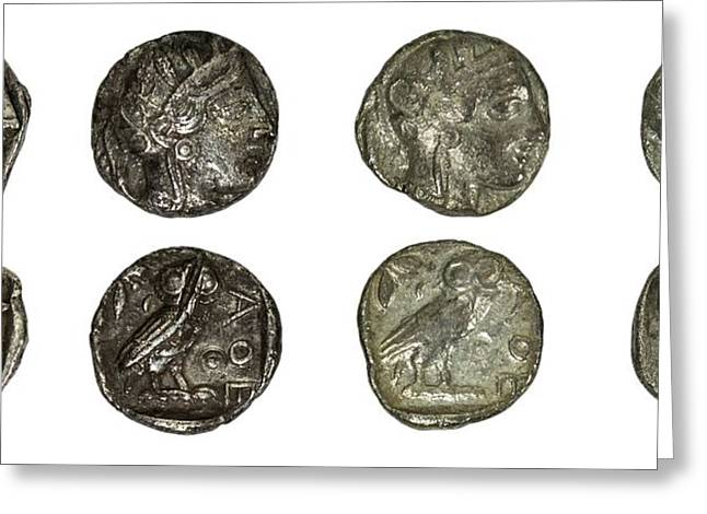 Silver Athena Coins Greeting Card by Photostock-israel