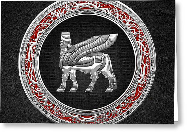 Babylonian Greeting Cards - Silver Babylonian Winged Bull  Greeting Card by Serge Averbukh