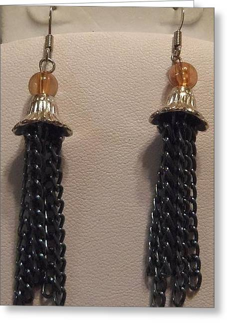 Amber Jewelry Greeting Cards - Silver Bell and Black Tassel Earrings Greeting Card by Kimberly Johnson