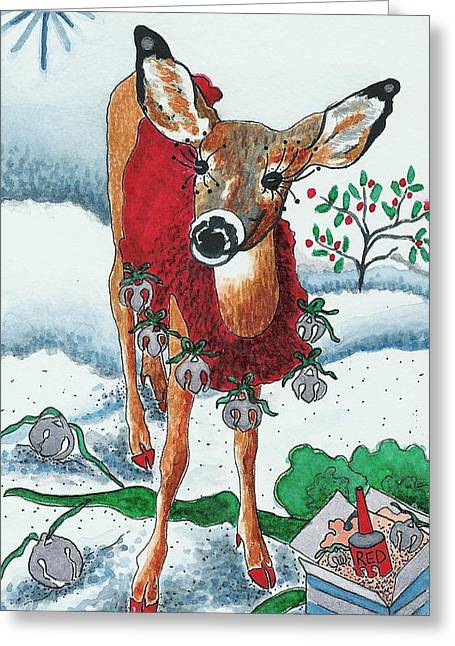 Blank Greeting Cards Mixed Media Greeting Cards - Silver Bells Greeting Card by Joy Bradley